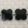 Gemstone black onyx beads, Lucky clover, Approx 20x5mm, Hole: Approx 1mm, 17 pieces per strand, Sold by strands