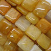 Gemstone yellow jade beads, Smooth flat square, Approx 15x15x6mm, Hole: Approx 1mm, 26 pieces per strand, Sold by strands