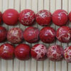 Gemstone imperial jasper beads, Red, Smooth round, Approx 8mm, Hole: Approx 1.2mm, 51 pieces per strand, Sold by strands