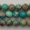 Gemstone imperial jasper beads, Dark turquoise, Smooth round, Approx 8mm, Hole: Approx 1.2mm, 51 pieces per strand, Sold by strands