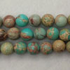 Gemstone imperial jasper beads, Turquoise, Smooth round, Approx 6mm, Hole: Approx 1.2mm, 62 pieces per strand, Sold by strands