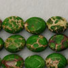 Gemstone imperial jasper beads, Light green, Flat oval, Approx 9x11mm, Hole: Approx 1.2mm, 35 pieces per strand, Sold by strands