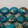Gemstone imperial jasper beads, Dark turquoise, Flat oval, Approx 9x11mm, Hole: Approx 1.2mm, 35 pieces per strand, Sold by strands