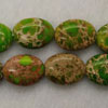 Gemstone imperial jasper beads, Light green, Flat oval, Approx 12x16mm, Hole: Approx 1.2mm, 25 pieces per strand, Sold by strands