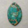 Gemstone imperial jasper pendants, Dark turquoise, Marquise, Approx 35x56mm, Hole: Approx 1.2mm, 10 pieces per bag, Sold by bags