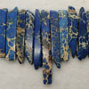 Gemstone imperial jasper beads, Blue, Graduated rectangles, Approx 8x15x6 - 8x55x6mm, Hole: Approx 1.2mm, 49 pieces per strand, Sold by strands