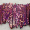 Gemstone imperial jasper beads, Purple, Graduated rectangles, Approx 8x15x6 - 8x55x6mm, Hole: Approx 1.2mm, 49 pieces per strand, Sold by strands