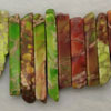 Gemstone imperial jasper beads, Mixed greens, Graduated rectangles, Approx 8x15x6 - 8x55x6mm, Hole: Approx 1.2mm, 49 pieces per strand, Sold by strands